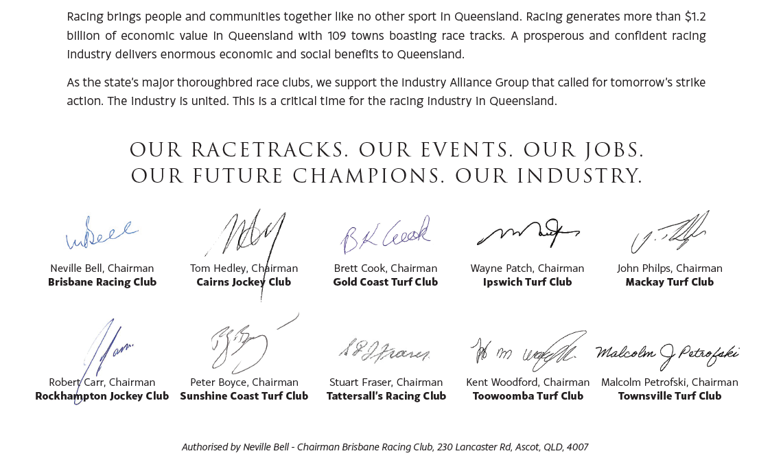 Open Letter from Queenslands Major Race Clubs to the State Government