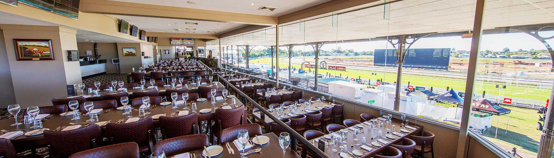 Moreton Dining Room is the perfect location for your function, encased in floor-to-ceiling glass this newly refurbished, exclusive dining room affords spectacular views of Eagle Farm Racecourse and the winning post