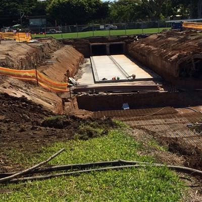 The new storm water culvert at Eagle Farm Racecourse at the 1800m position on the track