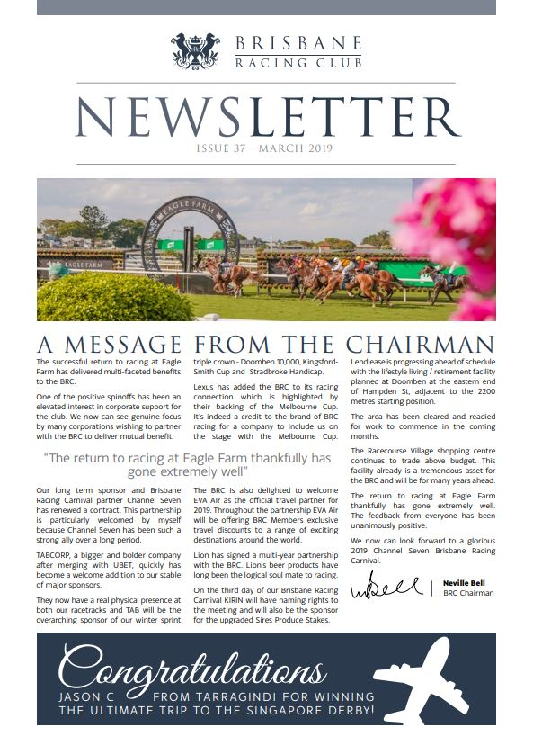 Members Newsletter March 2019 Issue 37 | Brisbane Racing Club